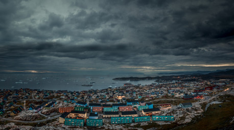 A night time view of Ilulissat in Greenland.jpg