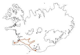 Map - Self-drive Tour Hikers Paradise along the South Coast of Iceland