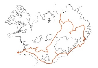 Map of Iceland Across ICeland along Sprengisandur and through the East Self-drive Tour
