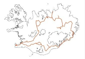 Map of Iceland Rental Car Tour Across Iceland along Kj�lur and through the East